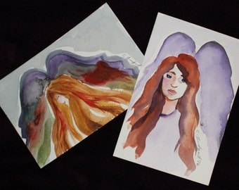 Watercolor angel postcards 4x6 set of two