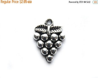 SALE 6 Silver Grape Charms - Wine Lover Charm