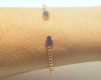 Hamsa Bangle Bracelet,Dark Blue Zirconia Stone, Pink Gold Overlay, Sterling Silver Bracelet