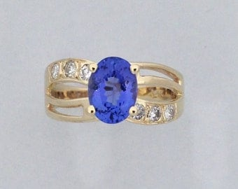 Natural Tanzanite Diamond Ring Solid 14kt Yellow Gold