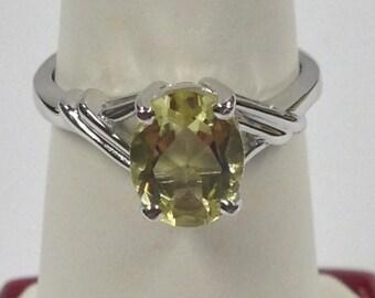 Natural Green Gold Quartz Ring 925 Sterling Silver