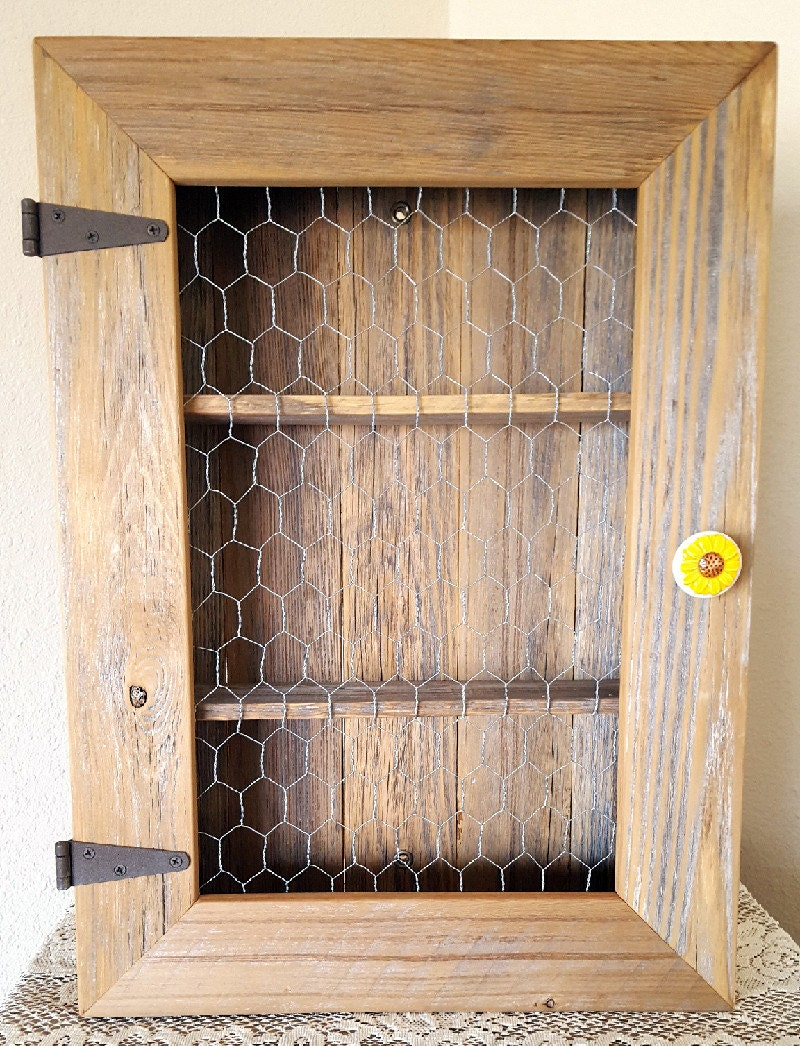 Country Cabinet/Rustic Spice Cabinet with Chicken Wire/Country