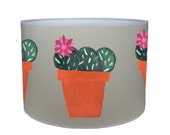 Pink flower cactus shade lamp shade ceiling shade drum lampshade lighting handmade home