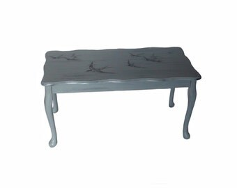 SALE !!  Coffee table/ hand painted/ living room/ birds/ images on wooden furniture/ swallows