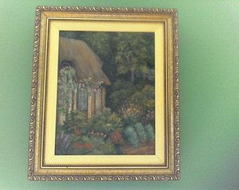Enchanted Cottage , Original Framed Painting, Evelyn Oakley Artist, 1994