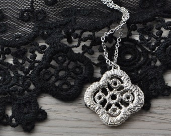 Floral lace sterling silver necklace