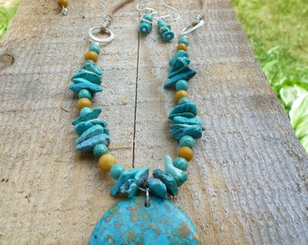 necklace and earring set of mosaic turquoise, yellow marble .