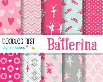 Ballerina Digital Paper Pack Includes 10 for Scrapbooking Paper Crafts