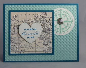 Stampin Up Handmade Greeting Card: Anniversary Card, Husband, Wife, I Love You, Boyfriend, Girlfriend, Fiance Wedding Going Global Valentine