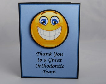 Handmade Greeting Card: Blank Note Card, Thank You Card, Orthodontist, Orthodontic, Braces, Smile, Happy Face, Teeth Appreciation