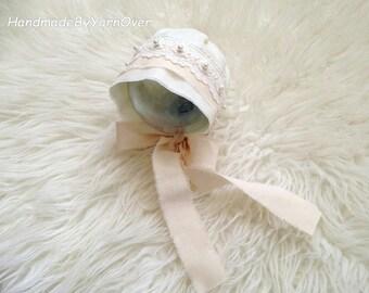 Vintage style Bonnet - Newborn Photography Props- Baby cotton hat