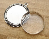 10 sets - Antique Silver Cabochon Tray and Glass Dome - Photo Pendant Making Set - Silver Cabochon Tray - Glass Dome - 25mm Photo Pendant