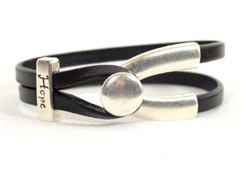 Melanoma Awareness Bracelet - Black5mm Flat Leather Wishbone Bracelet with Antique Silver Wishbone Clasp, and Hope Slider (5F-329)