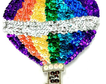 """Hot Air Balloon Appliqué with Multi-Color Sequins and Beads, 6.5"""" x 6""""  B056"""