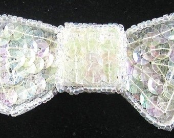 """Bow Applique, Iridescent Sequins and Beads, 2.25"""" x 1.5""""  -jj244I-B101"""