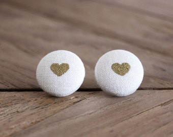 Fabric Button Earrings - Gold Hearts