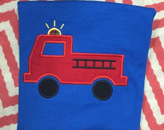 Firetruck| Applique Shirt| Boys Shirt| Firefighter| Engine