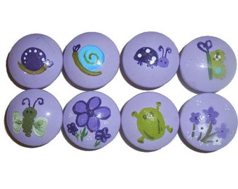 8 Custom Girls Purple Bugs Hand Painted Drawer Pulls Knobs
