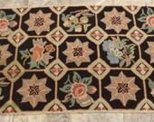 Hooked Rug, Vintage Window Pane Style, Garden Scenes, Large Rectangular, Antique Carpet