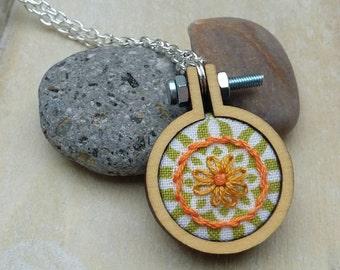 Hand Embroidered, Mini Mandala, Daisy, Hoop Necklace