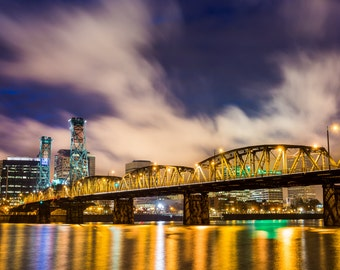 Portland Oregon Photograph, Hawthorne Bridge, Fine Art Photograph, Cityscape, River, Wall Art, Wall Decor, Willamette, Bridge Photograph