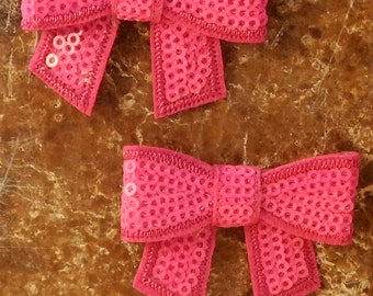 """2 Each 2"""" Hot Pink Sequin Bow Hair Bow Sewing Embellishment"""
