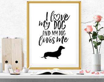 Dachshund Print, Dachshund Gift, Modern Décor, Dog Lover Gift, Dog Wall Art, Dog Art Print