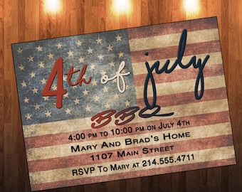 Vintage Fourth of July Invitation, Fourth of July Invite, 4th of July Invitation, 4th of July Invite, Independence Day Invitation