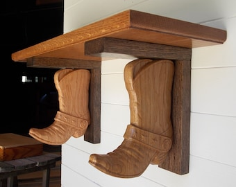 Western Wall Shelf ~ Cowboy Boot Shelf Brackets made from Reclaimed Oak Wood with Floating Shelf ~ Rustic Wall Shelves ~ Wooden Wall Corbels