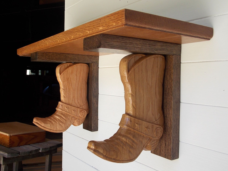 western wall shelf cowboy boot shelf brackets made from. Black Bedroom Furniture Sets. Home Design Ideas