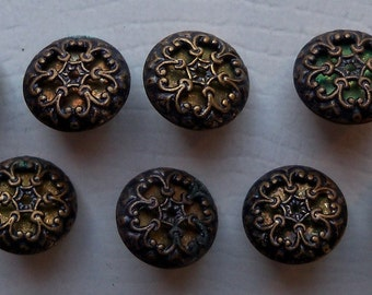 8 Antiqued Filigree Brass Buttons