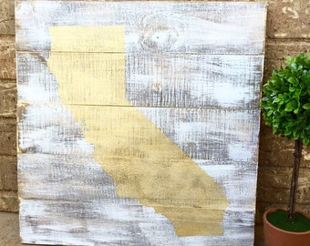 California Pallet Sign - Reclaimed Wood State Sign - Custom State Sign