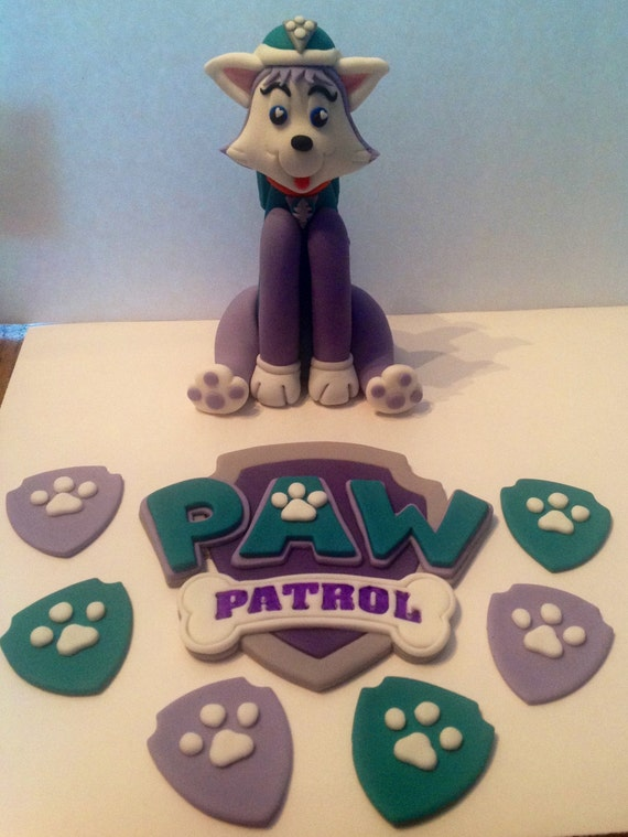 paw patrol cake topper items similar to paw patrol everest fondant cake topper 6396