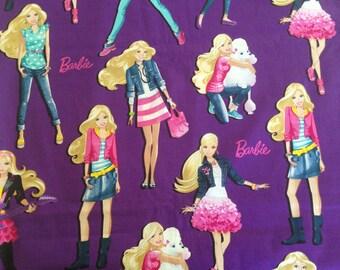 Cranston Village - 2013 Mattel - Barbie - Cotton Fabric on purple background - 1/2 yard increments