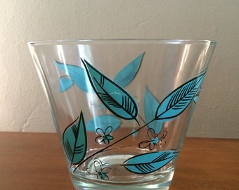 Mid Century Turquoise Leaf pattern Chip or Snack Bowl