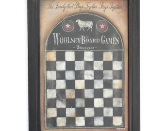 Primitive Gameboard, Checkerboard Design, Sheep, Art Print,  Primitive Decor, Wall Hanging, Handmade, 21X15 Real Wood Frame, Made in the USA