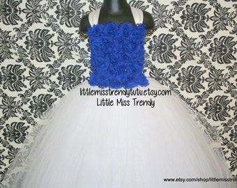 White and Blue Tutu Dress, Flower Girl Tutu Dress, White Flower Girl Dress, Jr Bridesmaid Tutu Dress, White Tutu Dress with Blue Flowers