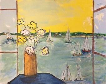 "Boats Through A Windows - Original Painting 16 X 20"" Canvas"