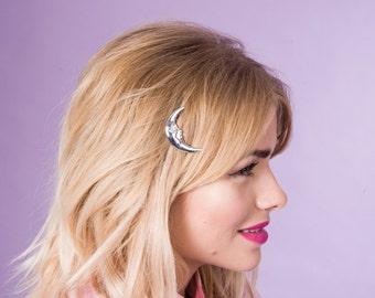 Moon Hair Clip, Moon Hair Pin, Crescent Moon Hair Clip, Witchy Hair Clip, 90's Hair Accessory, Metal Hair Clip, La Luna Hair Clip, La Luna
