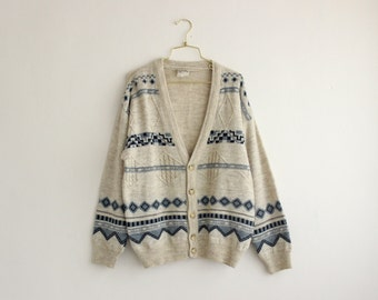 Vintage Knit Cardigan/ Slouchy Hipster Sweater/ White Aztec Cardigan Sweater