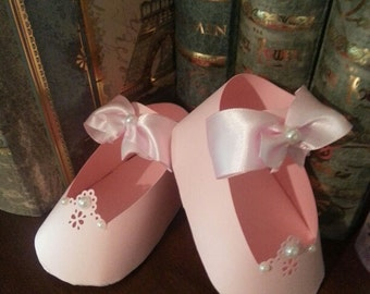 Baby Shower Favors / Set Of Ten Pink Mary Jane Shoe Favors / Shoe Favors / Baby Shower Favors