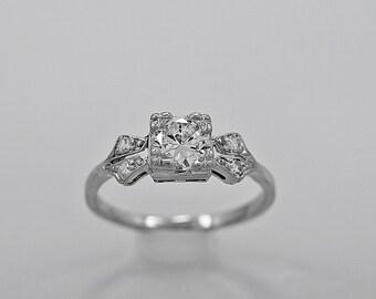 Antique Engagement Ring 0.65ct. Diamond & Platinum Art Deco- J34045