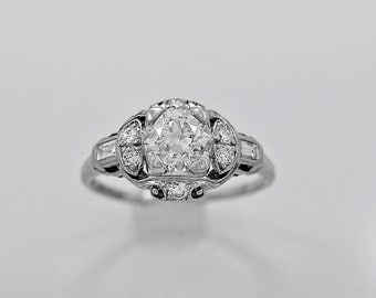 Antique Engagement Ring 1.08ct. Diamond & Platinum Art Deco - J36112