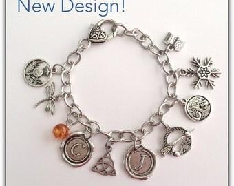 Outlander Inspired Charm Bracelet; Gabaldon Book Series Bracelet; Gift for Her
