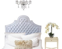 """Velvet Upholstered """"Arianna"""" with crystal button tufting a silver nailhead trim!"""