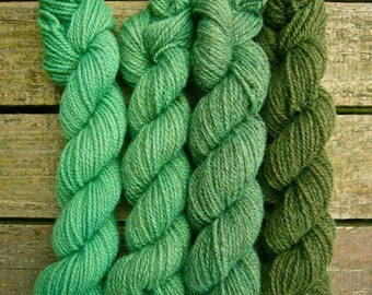 Hand dyed gradient yarn Shetland 4ply 'Grass Green'