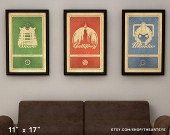 """11""""x17"""" Doctor Who Planets - Gallifrey, Skaro, and Mondas - Retro Avante Garde Poster Collection"""