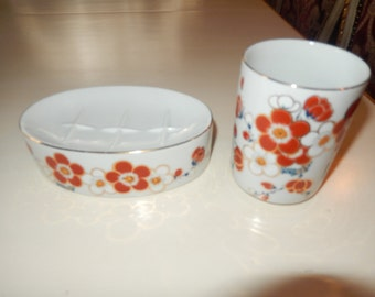 JAPAN BATHROOM SOAP Dish and Matching Glass