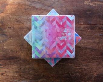 Striped Chevron Coasters, Drink Coasters, Ceramic Coasters, Table Coasters