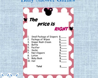 Minnie Mouse Baby Shower The Price is Right Game -Disney Girl Baby Shower Game Price is Right- Instant Download Pink &  Minnie Mouse Clipart